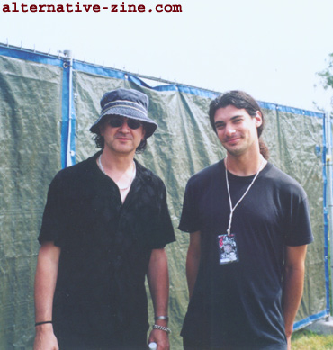 Wayne Hussey (The Mission) and Gal Gur-Arie (Alternative-Zine.com) at EuroRock 2000 Festival, Belgium, August 2000